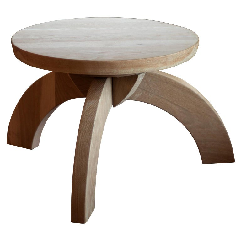 Arroyo Seco Bleached White Oak Side Table For Sale