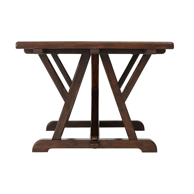 Country Art & Crafts Antiqued Mahogany Dining Table For Sale