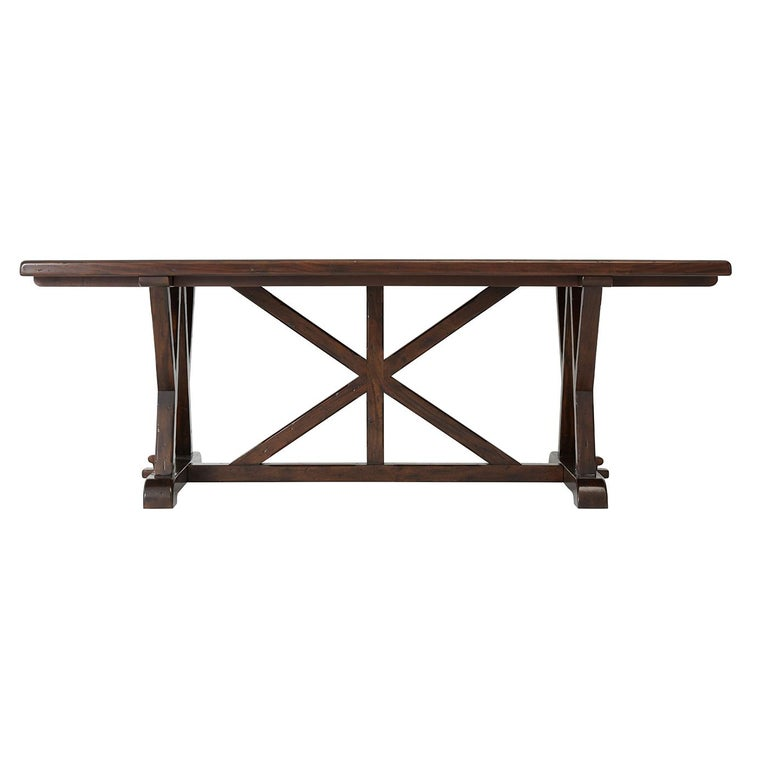 European Art & Crafts Antiqued Mahogany Dining Table For Sale