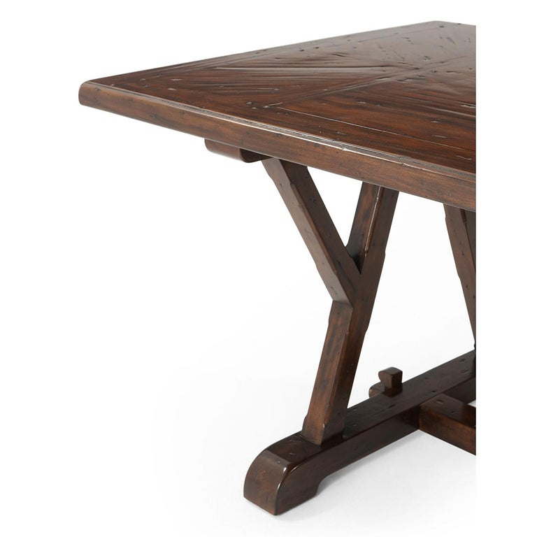 Contemporary Art & Crafts Antiqued Mahogany Dining Table For Sale