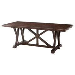 Art & Crafts Antiqued Mahogany Dining Table