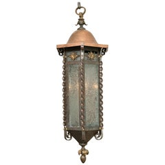 Art & Crafts Iron and Copper Hanging Lantern or Pendant