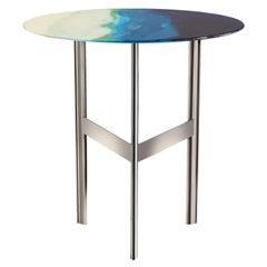 Art Blue and Green Glass Side Table