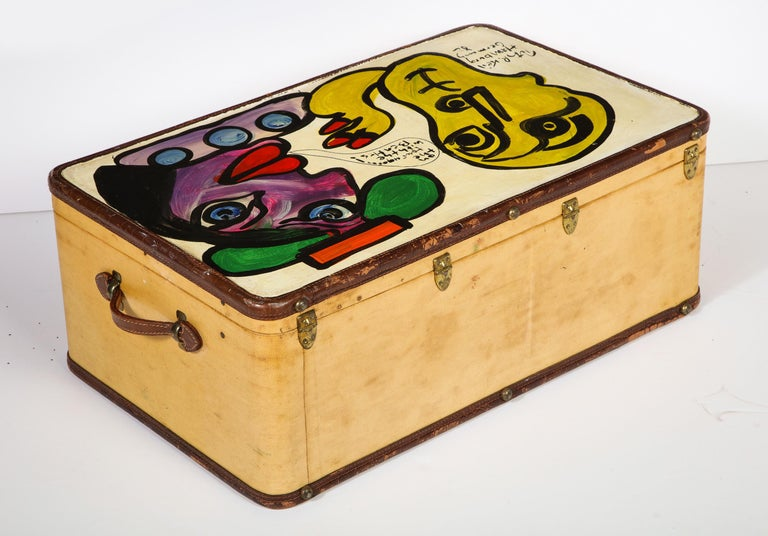 Art by Peter Keil, Suit Case, Green, Purple and Yellow, Modern Art, Travel Trunk For Sale 7