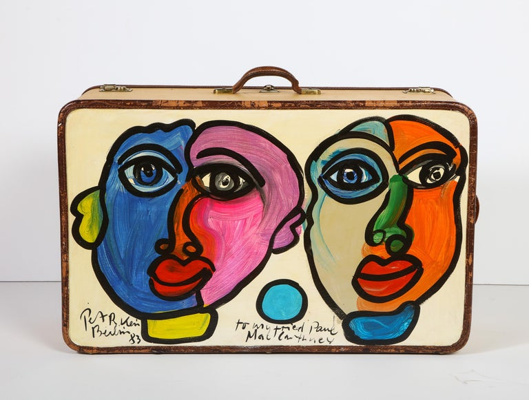 Art by Peter Keil, Suit Case, Green, Purple and Yellow, Modern Art, Travel Trunk In Good Condition For Sale In New York, NY