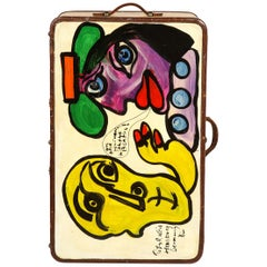 Art by Peter Keil, Suit Case, Green, Purple and Yellow, Modern Art