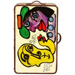 Art by Peter Keil, Travel Trunk, Green, Purple and Yellow, Modern Art, Suit Case