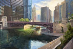 Chicago River at State Street - Rising Sun Urban Landscape Original Oil Painting