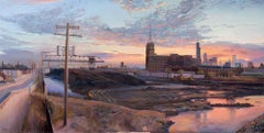 Coal Yard, South Branch Chicago River - Original Oil Painting, Dramatic Sky