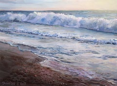 OBX I, Landscape Painting of the Outer Banks Beach with Waves Rolling In