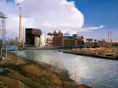 South Branch Chicago River - Original Oil Painting, River, Sky, Industrial Area