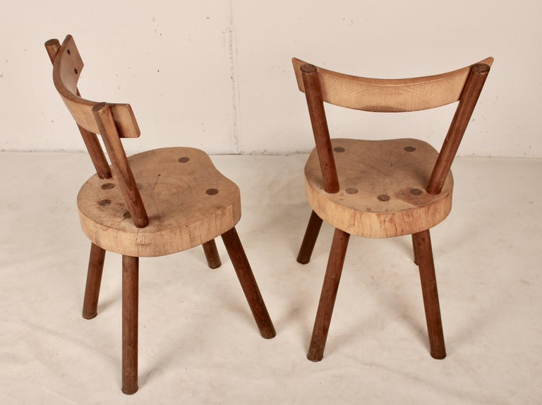 Chairs in massif wood made by anonymous carpenter from the French countryside Aveyron, 1960.