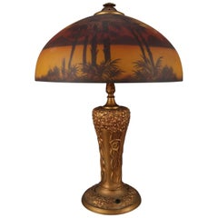 Art & Crafts Pittsburgh Reverse Painted Phoenix Table Lamp, circa 1910