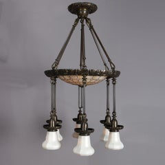 Art & Crafts Tiffany School Bronze Chandelier with Leaded and Quezal Art Glass