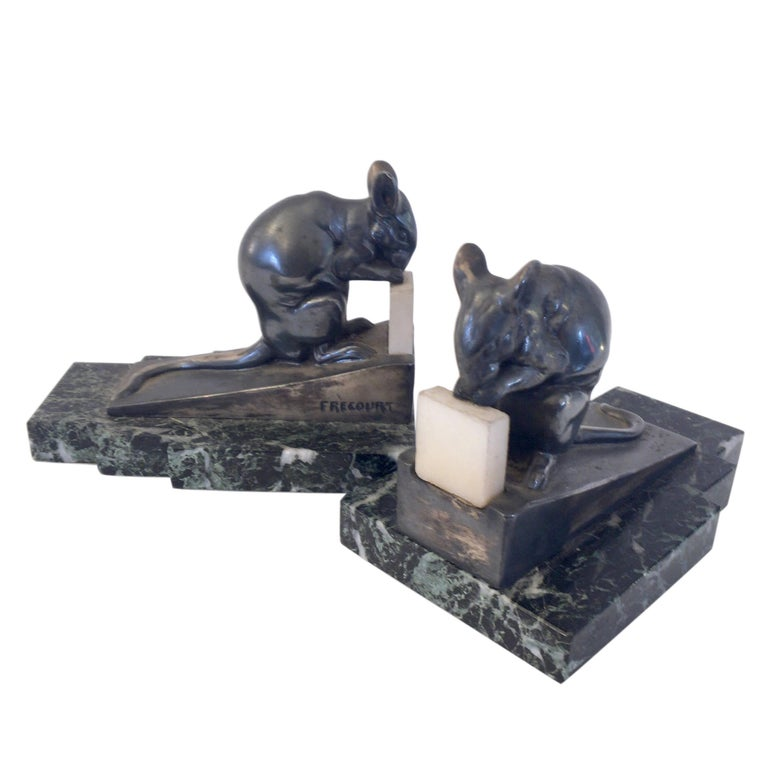 Art Deco Bookends, Mouse with Bacon by Maurice Frecourt, France, 1930s