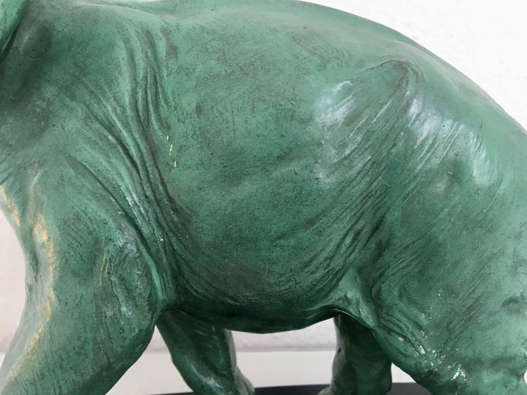 Tin Art Deco Elephant Sculpture in Regule on Black-Marble Socle, France 1930s For Sale