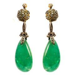 Art Deco Emerald Drops, Old European Cut Diamonds White Gold Detachable Earrings