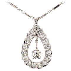 Art Dco Style 1.50ct Diamond Pendant Necklace White Gold