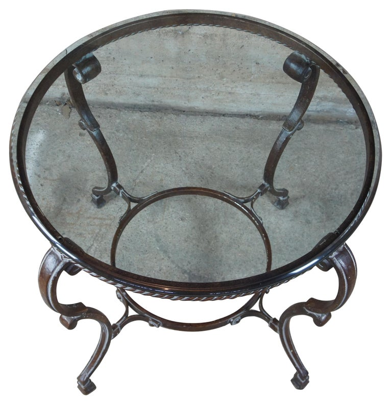 Rustic Art De Mexico Round Iron & Glass Tuscan Entryway Center Accent Side Table 36