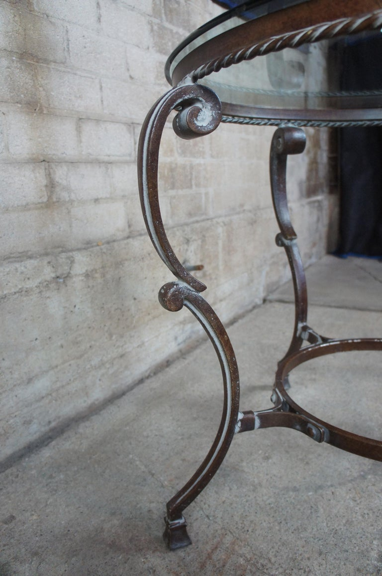 20th Century Art De Mexico Round Iron & Glass Tuscan Entryway Center Accent Side Table 36