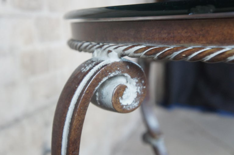 Art De Mexico Round Iron & Glass Tuscan Entryway Center Accent Side Table 36