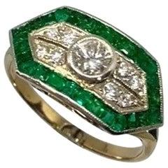 Art Deco Emerald and White Diamond Ring Original