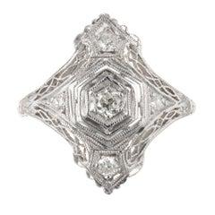 Art Deco 0.12 Carat European Cut Filigree Platinum Diamond Ring