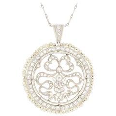 Art Deco 0.15 Carat Diamond and Pearl Necklace, circa 1920s