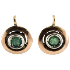 Art Deco 0.20 Carat Emerald Yellow Gold Dangle Lever-Back Earrings