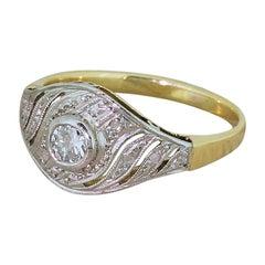 Art Deco 0.25 Carat Old Cut Diamond Swirl Ring
