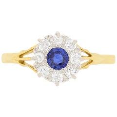 Art Deco 0.25 Carat Sapphire and Diamond Cluster Ring, circa 1920s