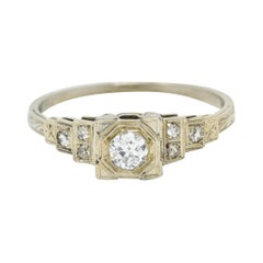 Art Deco 0.27 Carat Diamond 18 Karat White Gold Octagonal Step Engagement Ring