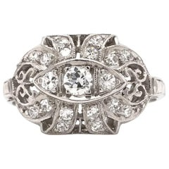 Art Deco 0.33 Carat Platinum Filigree Diamond Ring