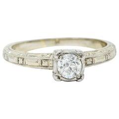 Art Deco 0.35 Carat Diamond 14 Karat White Gold Engagement Ring