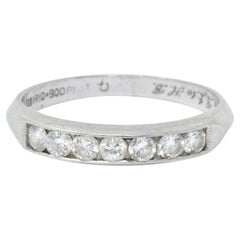 Art Deco 0.35 Carat Diamond and Platinum Half Band Ring