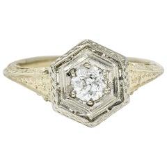 Art Deco 0.35 Carat Diamond Platinum 18 Karat Gold Hexagonal Engagement Ring