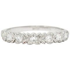 Art Deco 0.35 Carat Diamond Platinum Foliate Band Ring