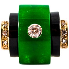 Art Deco 0.35 Carat White Diamond Onyx Jade Yellow Gold Cocktail Ring