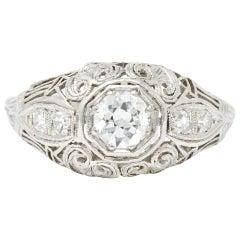 Art Deco 0.40 Carat Diamond Platinum Heart Filigree Dinner Ring