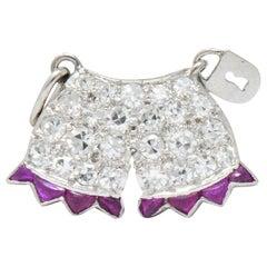 Art Deco 0.40 Carat Diamond Ruby Platinum Chastity Belt Charm
