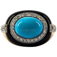 Art Deco Style 0.40 Carat White Diamond Turquoise Onyx Yellow Gold Cocktail Ring