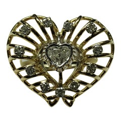 Art Deco 0.41 Carat Heart Cut White Diamond 18 Karat Yellow Gold White Gold Ring