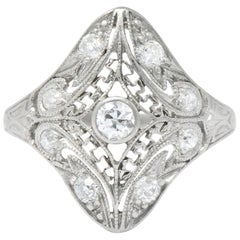Art Deco 0.43 Carat Diamond Platinum Dinner Ring