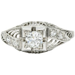 Art Deco 0.45 Carat Diamond Platinum Bombe Engagement Ring