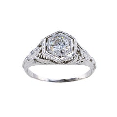 Art Deco 0.45 Carat Old European Cut Diamond White Gold Engagement Ring
