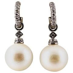Art Deco 0.45 Carat White Modern Round Diamond Pearl White Gold Drop Earrings