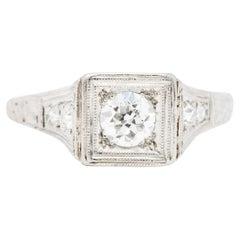 Art Deco 0.46 Carat Diamond Platinum Trellis Engagement Ring