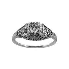 Art Deco 0.46 Carat Old European-Cut Diamond Engagement Ring