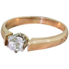 Art Deco 0.49 Carat Old Cut Diamond Rose Gold Engagement Ring