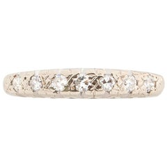 Art Deco .05 Carat Diamond Platinum Band